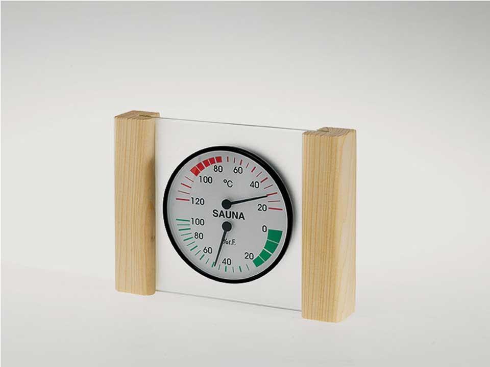 <p>Thermo-Hygrometer<br /> Exklusiv mit Glas-Holzrahmen</p>