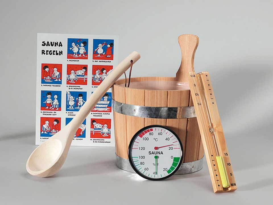 <p>Sauna-Zubehörset</p>  <p>6-teilig, Standard</p>