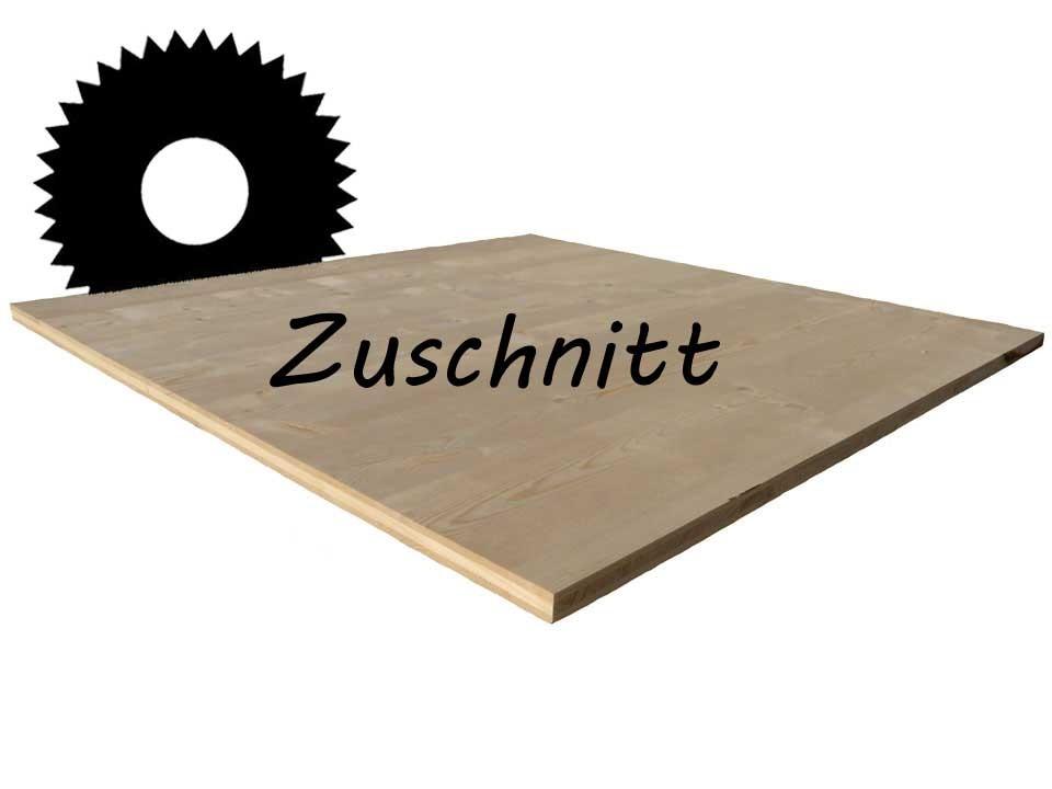 <p>3-Schicht-Platte Fichte 19mm</p>  <p>Zuschnitt bis max. 500x125cm</p>