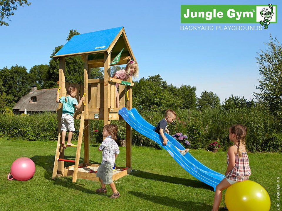 <p>Jungle Gym Castle</p>  <p>aus druckimprägniertem Nadelholz, inkl. Rutsche</p>