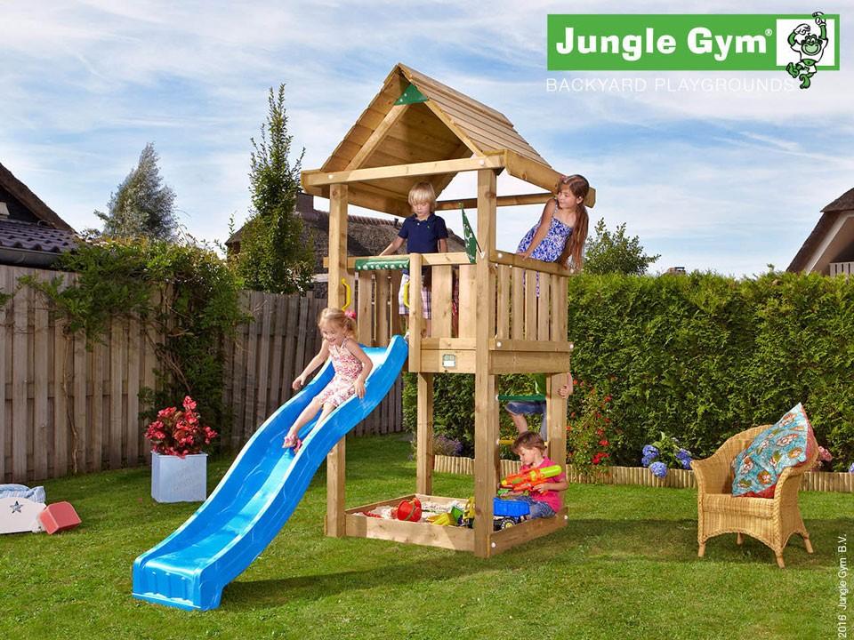 <p>Jungle Gym House</p>  <p>aus druckimprägniertem Nadelholz, inkl. Rutsche</p>