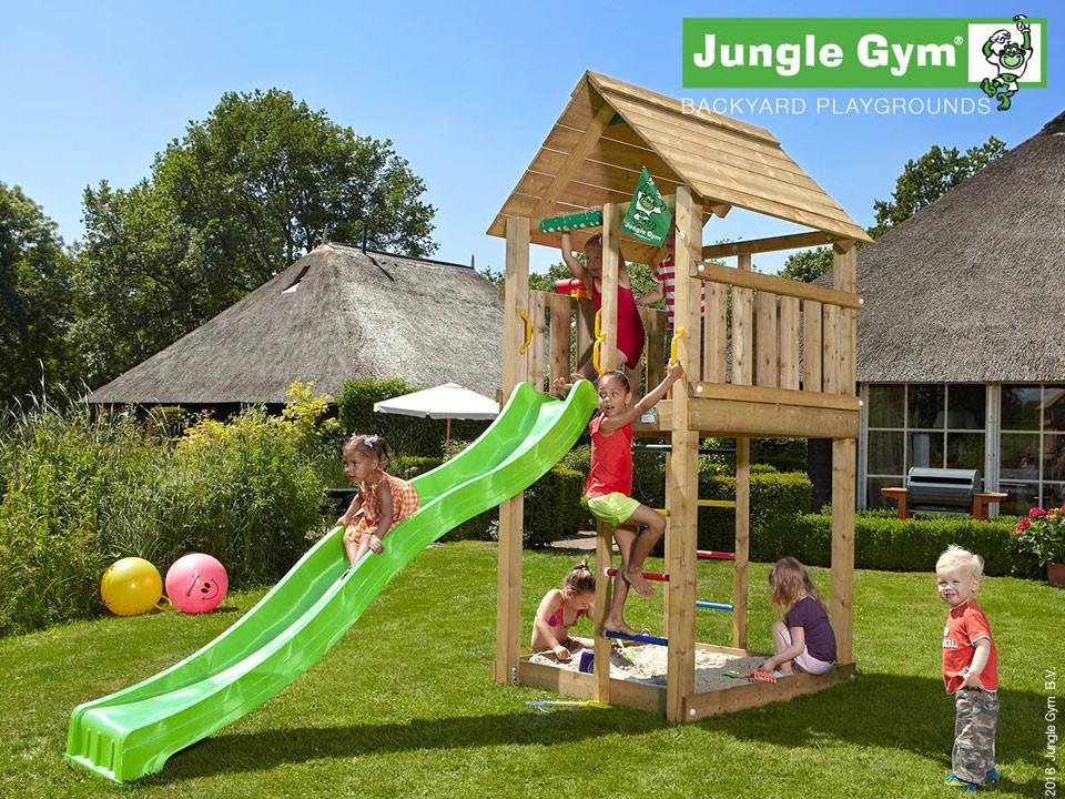 <p>Jungle Gym Cabin</p>  <p>aus druckimprägniertem&nbsp;Nadelholz, inkl. Rutsche</p>