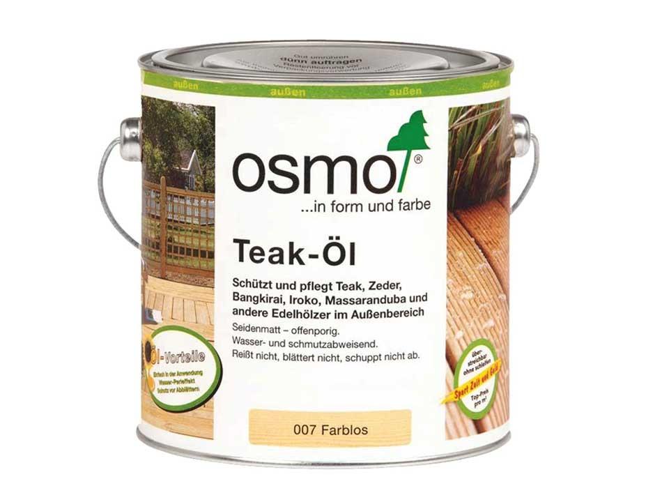 <p>Teak-Öl farblos, Nr. 007</p>  <p>0,75 und 2,5 Liter Gebinde</p>