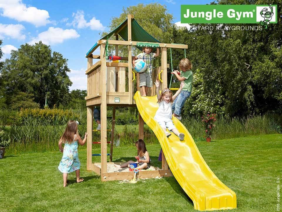 <p>Jungle Gym Lodge</p>  <p>aus druckimprägniertem&nbsp;Nadelholz, inkl. Rutsche</p>