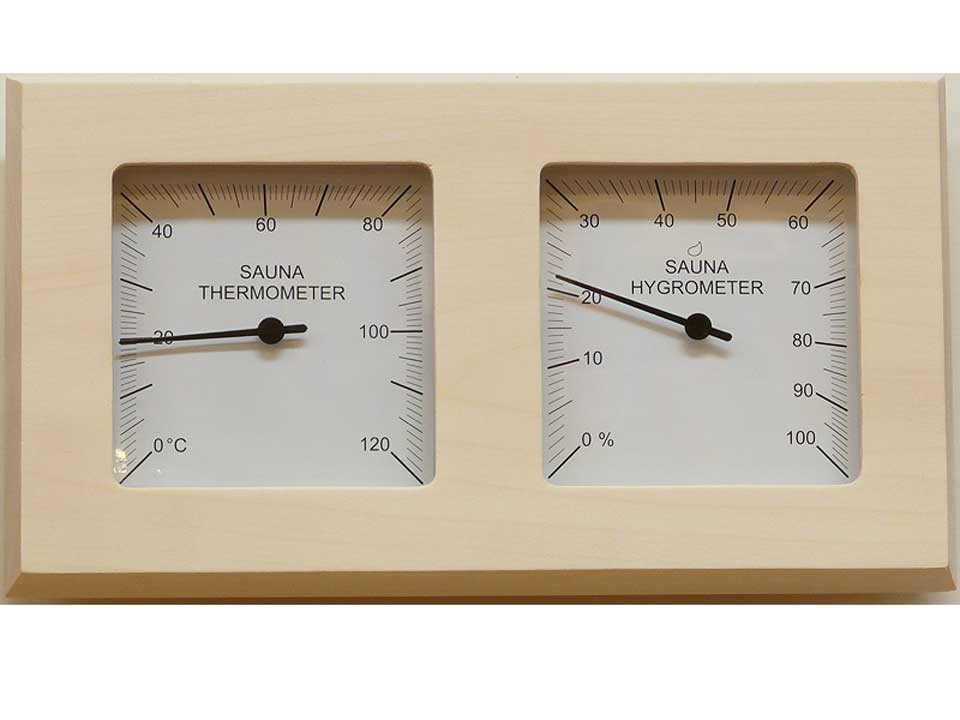 <p>Thermo-Hygrometer geteilt</p>  <p>aus Espenholz</p>