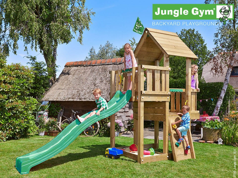 <p>Jungle Gym Cubby</p>  <p>aus druckimprägniertem&nbsp;Nadelholz, inkl. Rutsche</p>