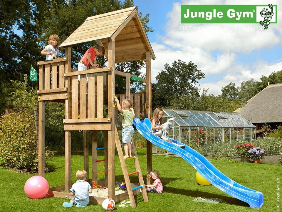 <p>Jungle Gym Palace</p>  <p>aus druckimprägniertem&nbsp;Nadelholz, inkl. Rutsche</p>