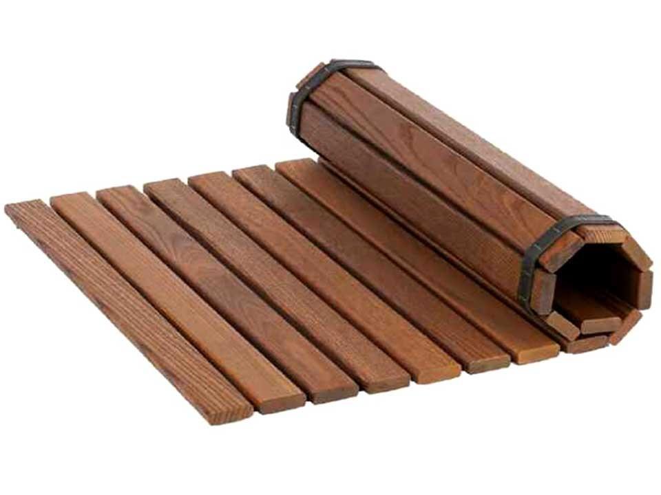 <p>Fußbodenmatte Thermoholz</p>  <p>für Sauna und im Sanitärbereich</p>