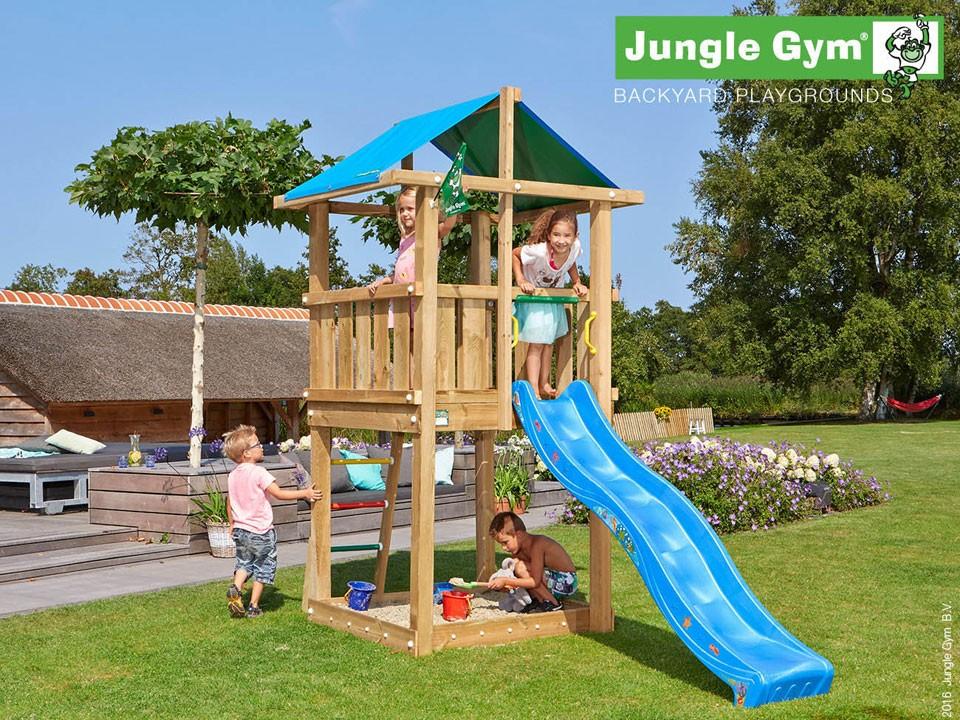 <p>Jungle Gym Hut</p>  <p>aus druckimprägniertem Nadelholz, inkl. Rutsche</p>