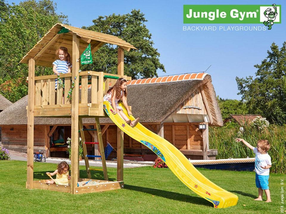 <p>Jungle Gym Shelter</p>  <p>aus druckimprägniertem&nbsp;Nadelholz, inkl. Rutsche</p>