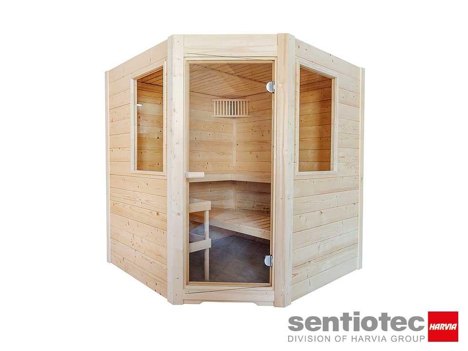 <p>Saunakabine 195 x 187&nbsp;cm</p>  <p>Sentiotec Basic Corner</p>